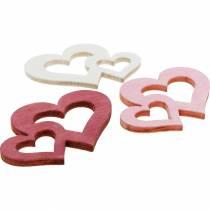 Houten harten, giveaways voor tafeldecoratie, Valentijnsdag, huwelijksdecoraties, dubbel hart 72st