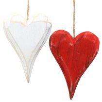 Houten harten om op te hangen rood, wit 11.5cm 4st