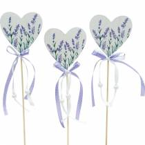 Lavendel hart, zomerdecoratie, hart om te plakken met lavendel, mediterrane hartdecoratie 6st