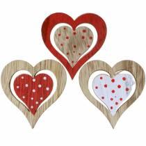 Hart rood, wit, naturel geassorteerd hout 4,5x4,5cm 24st