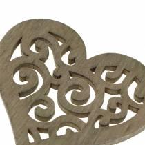 Tafeldecoratie hart hout wit, crème, bruin 4cm 72p