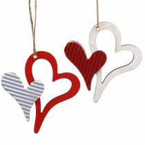 Hart hanger gemaakt van hout rood, wit 8cm 24st