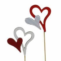 Houten hartjes studs rood, wit 38cm 12st