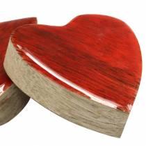 Harten gemaakt van mangohout geglazuurd naturel, rood 4,3 cm × 4,6 cm 16st