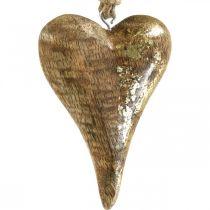 Houten harten met gouden decor, mangohout, decoratieve hangers 10cm × 7cm 8st