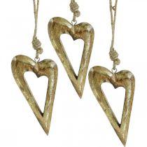 Decoratie hart, mangohout goud effect, houten decoratie om op te hangen 13.5cm × 7cm 4st