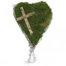 Grafdecoratie hartranken, mos met kruis voor grafopstelling 30×20cm