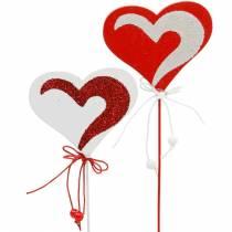 Hart op de stok rood, wit Dekoherz Dekostecker Valentijnsdag 16st
