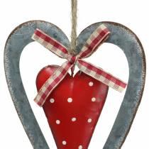 Decoratief hart om op te hangen metaal rood, zilver Ø8,8 H15cm 3st