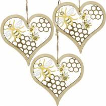 Decoratief hart bijen geel, gouden houten hart om zomerdecoratie op te hangen 6st