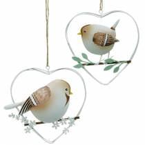 Hart hanger met mussen, lentedecoratie, metalen hart, Valentijnsdag, vogelhart 4st