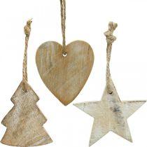 Houten hangers, spar / hart / ster, kerstdecoratieset H7.5 / 8cm 9st