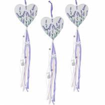 Hart met lavendelmotief om op te hangen, bruiloft, mediterrane zomerdecoratie, Valentijnsdag, lavendelhart 4st