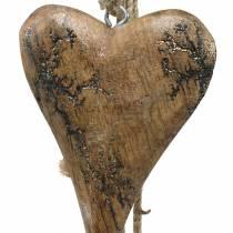 Houten hartjes met glitter inleg aan een op te hangen koord naturel L60cm
