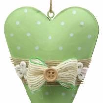 Hart hanger metaal lime groen, wit assorti H11cm 4st