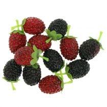 Frambozen mix rood / zwart 4cm x 2cm 36st