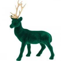 Hert staand deco figuur groen goud tafeldecoratie Advent 27cm