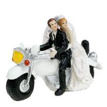Bruidspaar bruid en bruidegom op motorfiets 9 cm