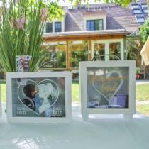 """Spaarpot bruiloft """"Honeymoon Fund"""" hout met glazen front wit H15m"""
