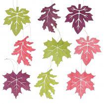 Houten bladerenmix voor het ophangen van diverse kleuren 15cm 9st