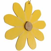 Houten bloemen om op te hangen, lentedecoratie, houten bloemen geel en wit, zomerbloemen 8st