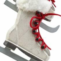 Houten schaats wit om op te hangen 8cm 3st