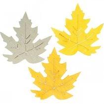 Strooidecoratie herfst, esdoorn bladeren, herfstbladeren goud, oranje, geel 4cm 72p