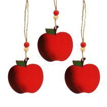 Houten appel om op te hangen 7cm rood 24st