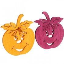 Streudeko lachende appel, herfst, tafeldecoratie, krabappel oranje, geel, groen, roze H3.5cm B4cm 72st