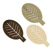 Geassorteerde houten bladeren 4cm naturel 72p