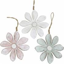 Houten bloemen om op te hangen, zomer, bloemen in pastelkleuren, lentedecoratie Ø16cm 3st