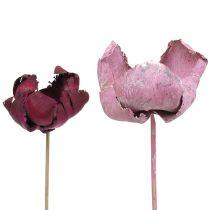 Houten bloem, palmbeker mix roze-heide 25st