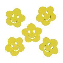 Houten bloem met gezicht geel 2,5 cm 48p