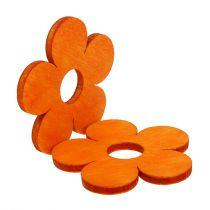 Houten bloem voor verstrooiing oranje 4cm 72st