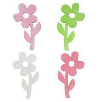 Houten bloem 6 cm pastel assorti 72St