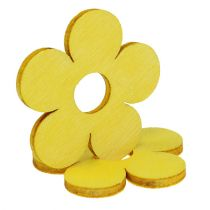 Houten bloemen Ø4cm geel 72st