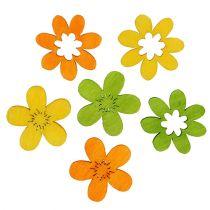 Houten bloemen strooisel decoratie 2cm geassorteerde kleuren 144St