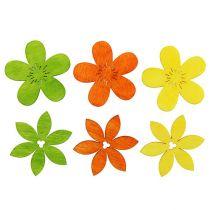 Houten bloemen 4 cm geassorteerde kleuren 72St