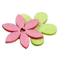 Houten bloemen 4 cm pastel assortiment. 72St