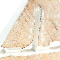 Decoratieve boot gemaakt van natuurlijk mangohout, wit 21 x 18 cm