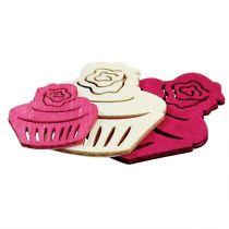 Houten cupcakes tafeldecoratie pastelkleuren muffins verjaardag versiering 24st