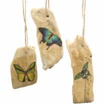 Hanger drijfhout met vlinder 8-13cm 36st