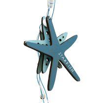 Houten hanger zeester blauw 36cm 4st