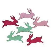 Houten konijn geassorteerde kleuren als scatter decoratie 5cm 24st