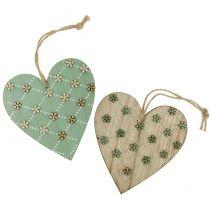 Houten hart om op te hangen groen / naturel 10cm 4st