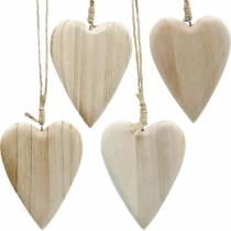 Houten hartjes om op te hangen naturel 10cm 4st