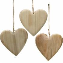 Houten hart om op te hangen natuur decoratieve harten Valentijnsdag Moederdag 3st