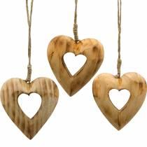 Decoratieve hanger hart, houten hart, Valentijnsdag, houten hanger, bruiloft decoratie 6st