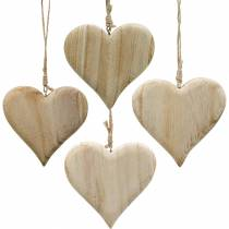 Decoratief hart Valentijnsdag houten hart om natuur hout decoratie 4st