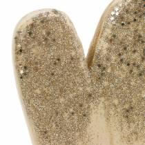 Decoratief hart op een houten voet met glitter H27cm
